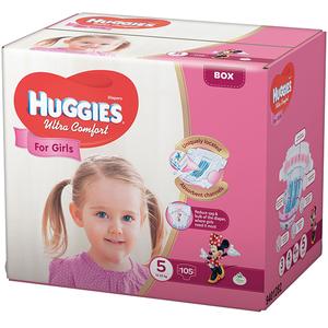 Scutece HUGGIES Ultra Confort 5, Fete, 12 - 22 kg, 105 buc