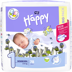 Scutece HAPPY Newborn nr 1, Unisex, 2 - 5kg, 78 buc