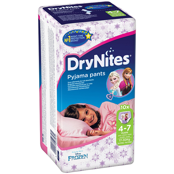 Scutece chilotei HUGGIES DryNites, Fete, 4 - 7 ani, 17 - 30 kg, 10 buc