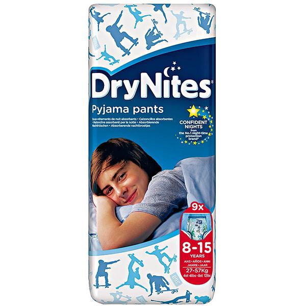 Scutece chilotei HUGGIES DryNites, Baieti, 8 - 15 ani, 27 - 57 kg, 9 buc