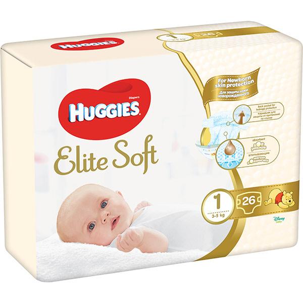 Scutece HUGGIES Elite Soft 1, Unisex, 3 - 5 kg, 26 buc