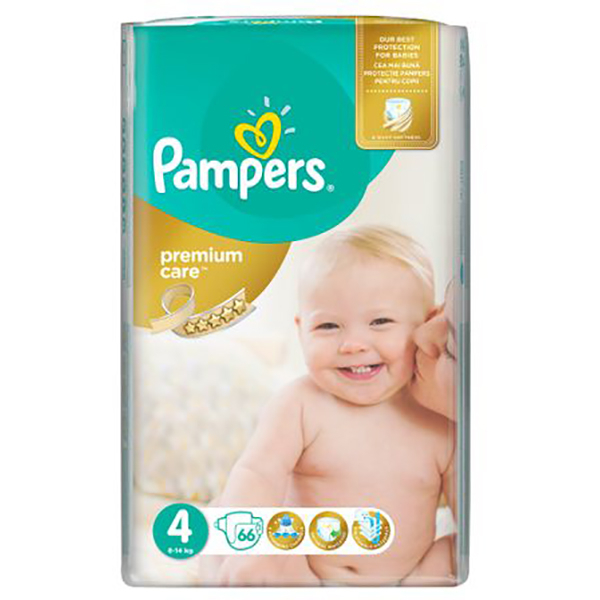 Scutece PAMPERS Premium Care Jumbo Pack 4, Unisex, 8 - 14 kg, 66 buc