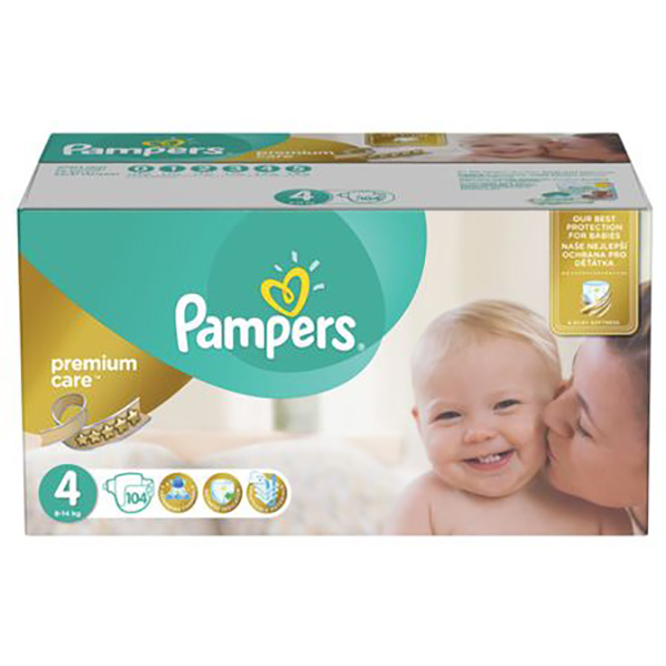 Scutece PAMPERS Premium Care Mega Box 4, Unisex, 8 - 14 kg, 104 buc