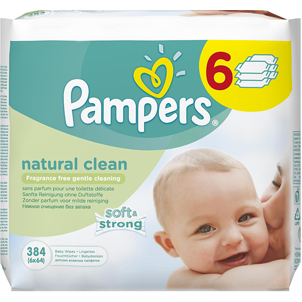 Servetele umede PAMPERS Natural Clean, 6 pachete, 384 buc