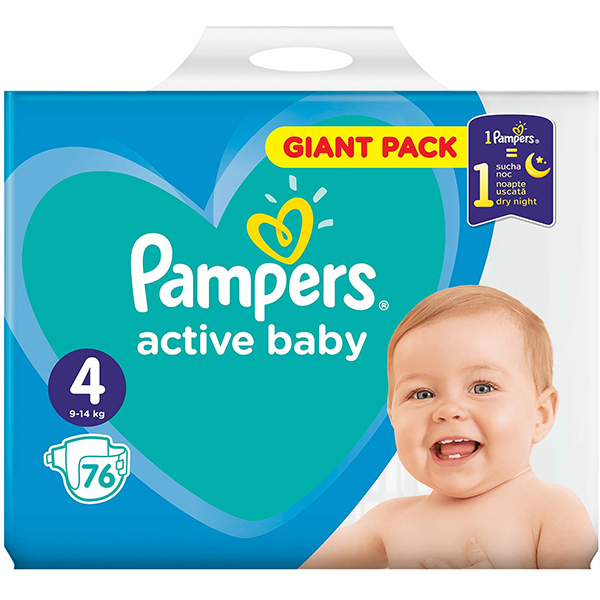 Scutece PAMPERS Active Baby Giant Pack nr 4, Unisex, 9 - 14 kg, 76 buc