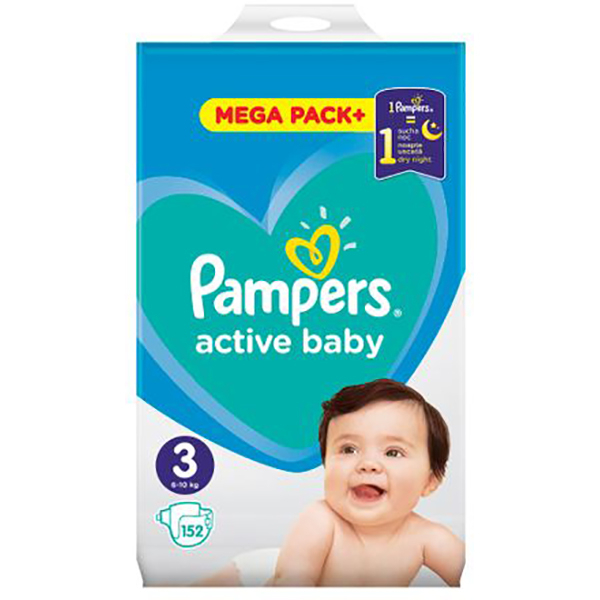 scutece pampers active baby mega pack 3 unisex 6 10 kg 152 buc