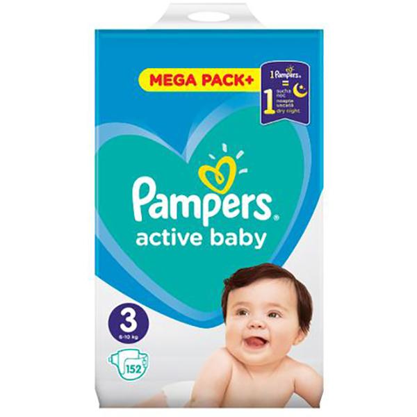 Scutece PAMPERS Active Baby Mega Pack 3, Unisex, 6 - 10 kg, 152 buc