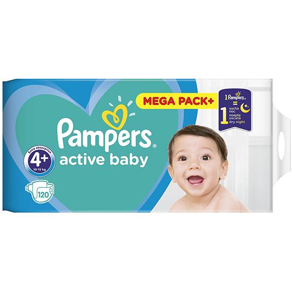 Scutece PAMPERS Active Baby Mega Pack 4, Unisex, 10 - 15 kg, 120 buc