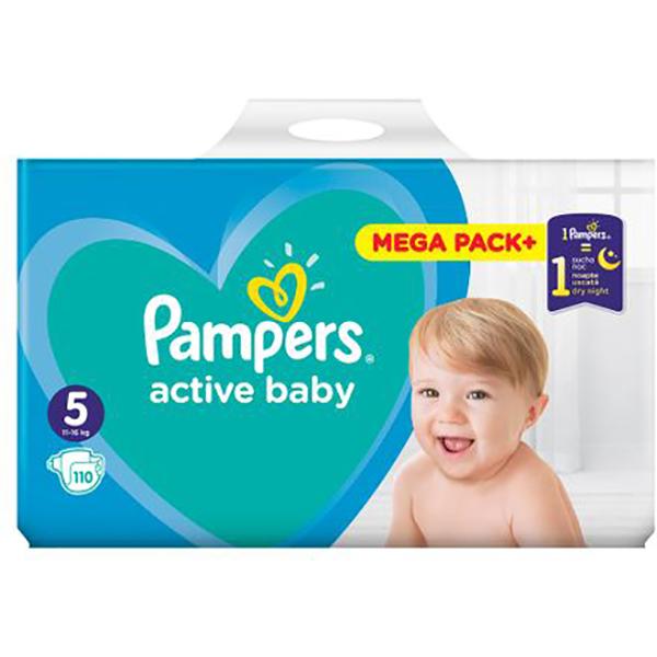 Scutece PAMPERS Active Baby Mega Pack nr 5, Unisex, 11 - 16 kg, 110 buc