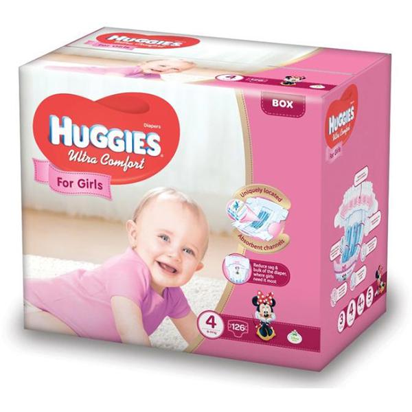 Scutece HUGGIES Ultra Comfort 4, Fete, 8 - 14 kg, 126 buc