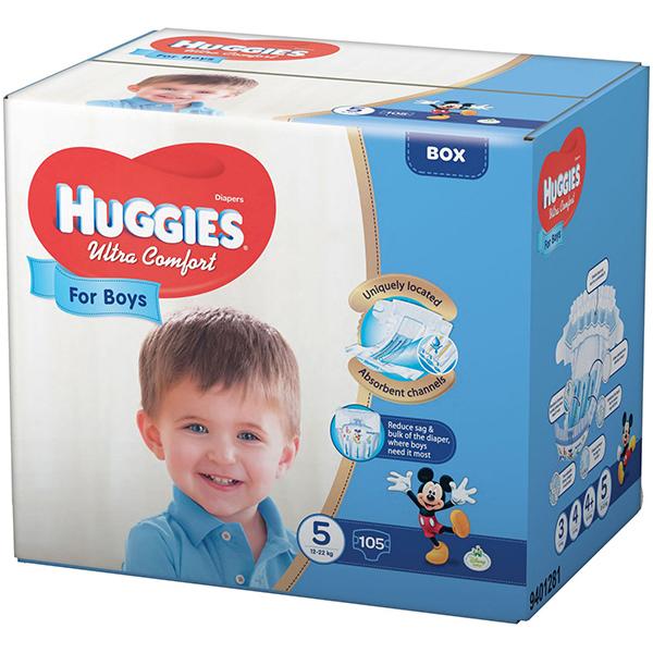 Scutece HUGGIES Ultra Confort 5, Baieti, 12 - 22 kg, 105 buc
