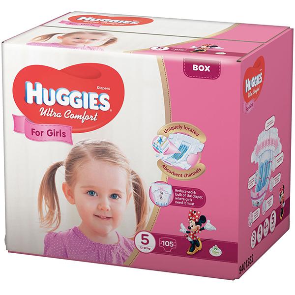 Scutece HUGGIES Ultra Confort nr 5, Fata, 12 - 22 kg, 105 buc
