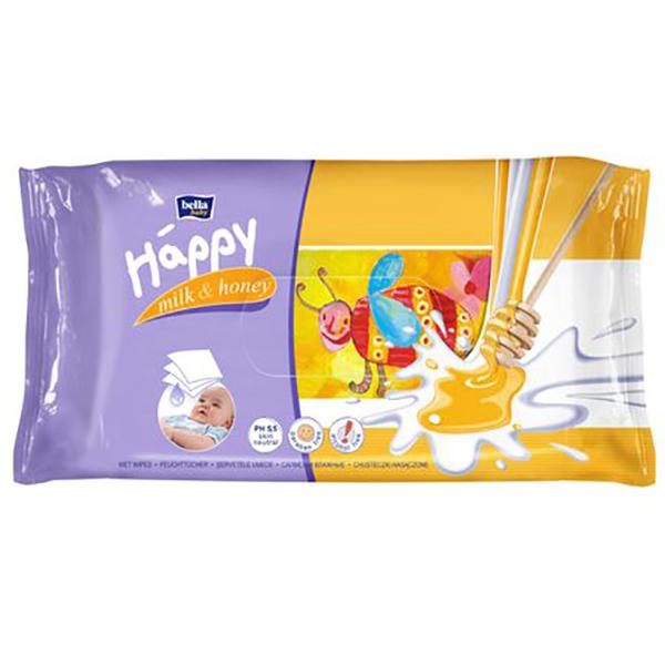Servetele umede HAPPY Milk&Honey, 2 pachete, 128 buc