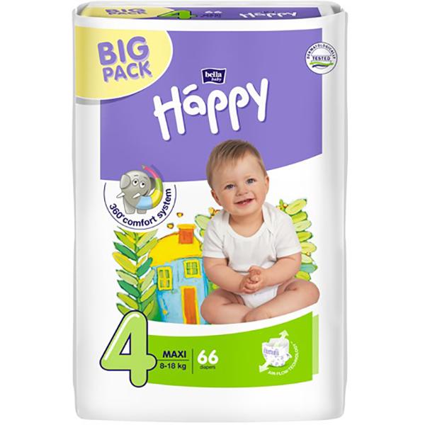 Scutece HAPPY Maxi 4, Unisex, 8 - 18 kg, 66 buc