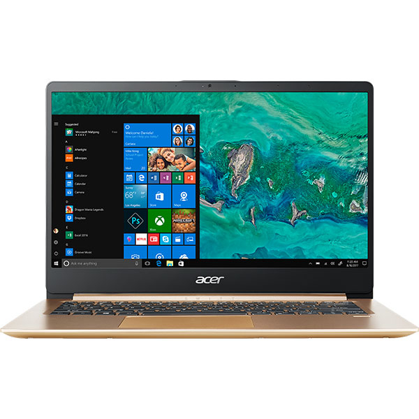 "Laptop ACER Swift 1 SF114-32-P2XB, Intel® Pentium® Silver N5000 pana la 2.7GHz, 14"" Full HD, 4GB, SSD 256GB, Intel® UHD Graphics 605, Windows 10 Home, Gold"