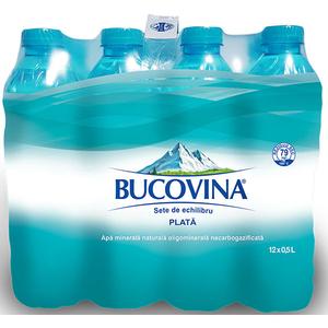 Apa minerala naturala plata BUCOVINA 0.5L, bax, 12 Sticle