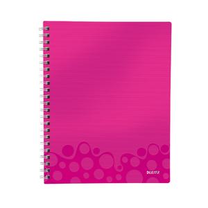 Caiet de birou LEITZ, dictando, A4, 80 file, legatura spirala, roz