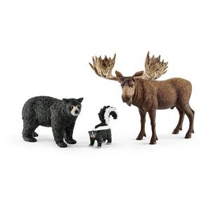 Set figurine SCHLEICH Animale din padurile Americii de Nord SL41458, 3 ani+, negru-maro