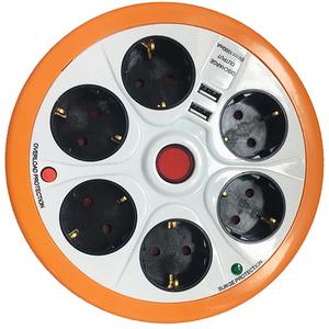 Prelungitor cu protectie STROHM SMGES054, 6 prize, 2 x USB, 1.5 m, alb-portocaliu