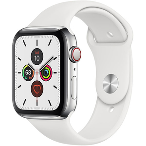 APPLE Watch Series 5 GPS + Cellular, 44mm Stainless Steel Case, White Sport Band