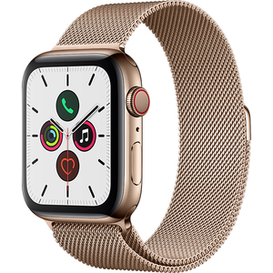 APPLE Watch Series 5 GPS + Cellular, 44mm Gold Stainless Steel Case, Gold Milanese Loop