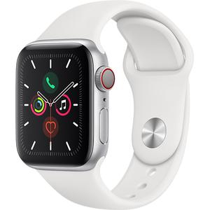 APPLE Watch Series 5 GPS + Cellular, 40mm Silver Aluminium Case, White Sport Band