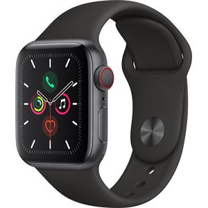 APPLE Watch Series 5 GPS + Cellular, 40mm Space Grey Aluminium Case, Black Sport Band
