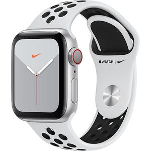 APPLE Watch Nike Series 5 GPS + Cellular, 40mm Silver Aluminium Case, Pure Platinum/Black Nike Sport Band