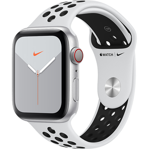 APPLE Watch Nike Series 5 GPS + Cellular, 44mm Silver Aluminium Case, Pure Platinum/Black Nike Sport Band