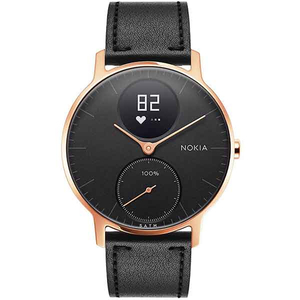 Smartwatch NOKIA Steel HR 36mm, Android/iOS, piele, Large, Carcasa Rose Gold, Black Band