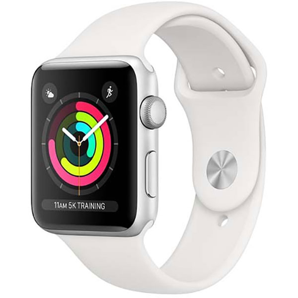 APPLE Watch Series 3 42mm Silver Aluminum Case, White Sport Band