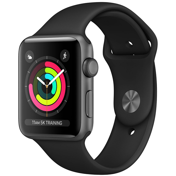 APPLE Watch Series 3 42mm Space Gray Aluminum Case, Black Sport Band