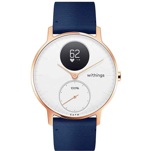 Smartwatch NOKIA Steel HR 36mm, Android/iOS, piele, Large, Carcasa Rose Gold, Blue Band