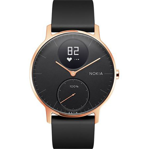 Smartwatch NOKIA Steel HR 36mm, Android/iOS, silicon, Large, Carcasa Rose Gold, Black Band