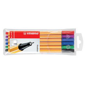 Liner STABILO Point 88, fetru, 0.4 mm, 6 culori (rosu, negru, albastru, verde, roz, mov)