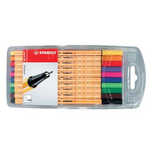 Liner STABILO Point 88, fetru, 0.4 mm, 10 culori (rosu, negru, albastru, verde, roz, mov, verde deschis, violet, orange, galben)