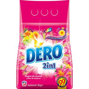 Detergent automat DERO 2 in 1 Bujor de Munte si Stanjenel, 2kg, 20 spalari