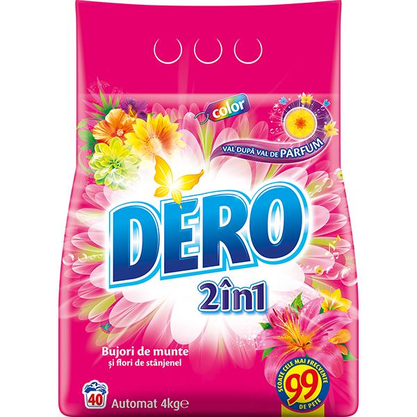 Detergent automat DERO 2 in 1 Bujor de Munte si Stanjenel, 4kg, 40 spalari