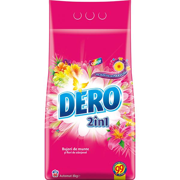 Detergent automat DERO 2 in 1 Bujor de Munte si Stanjenel, 8kg, 80 spalari