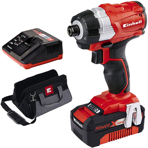 Surubelnita fara acumulator cu impact EINHELL Power-X-Change TE-CI 18 BL Kit 4.0, 18 V, 180 Nm