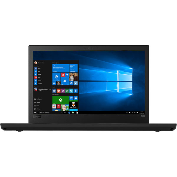"Laptop LENOVO ThinkPad T480, Intel Core i5-8250U pana la 3.4GHz, 14"" Quad HD, 8GB, SSD 512GB, Intel UHD Graphics 620, Windows 10 Pro, Negru"