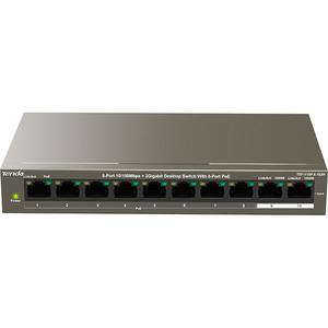 Switch TENDA TEF1110P-8-102W, 2 porturi Gigabit, 8 porturi PoE, argintiu