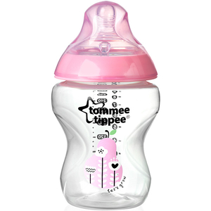 Biberon TOMMEE TIPPEE Closer to Nature, flux lent, 0 luni +, 260 ml, roz - transparent