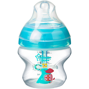 Biberon cu sistem de ventilatie TOMMEE TIPPEE Advanced, 0 luni +, 150 ml, bleu - transparent