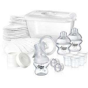 Set de alaptare TOMMEE TIPPEE: 1 pompa san manuala + 1 cutie sterilizare + 56 tampoane san + 3 biberoane 150 ml + 4 capace biberoane + 5 recipiente stocare + 2 suzete, transparent