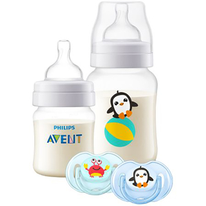 Set anticolici PHILIPS AVENT SCD805/01: 1 biberon 125ml + 1 biberoan 260ml + 2 suzete, 0 - 12 luni, albastru deschis - transparent