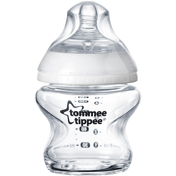 Biberon sticla TOMMEE TIPPEE Closer to Nature, flux lent, 0 luni +, 150ml, transparent