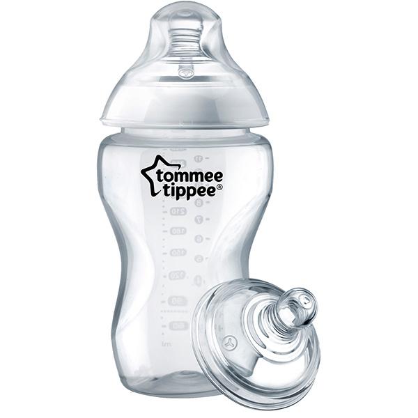 Biberon TOMMEE TIPPEE, hrana densa, 6 luni +, 340ml, transparent