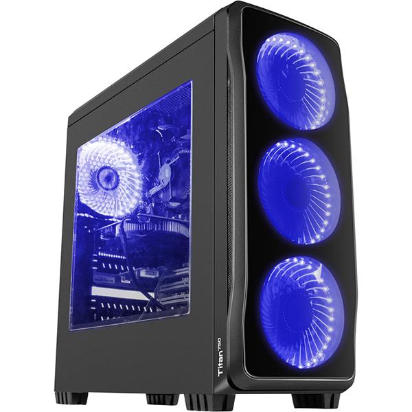 Carcasa GENESIS Titan 750 Blue, 1 x USB 3.0, 2 x USB 2.0, mini-ITX, mATX, ATX