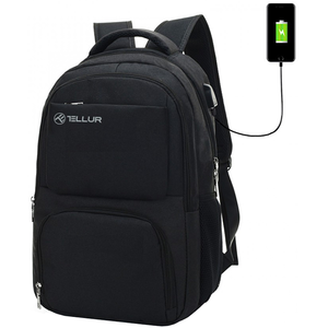 "Rucsac laptop TELLUR TLL611211 cu port USB, 15.6"", negru"